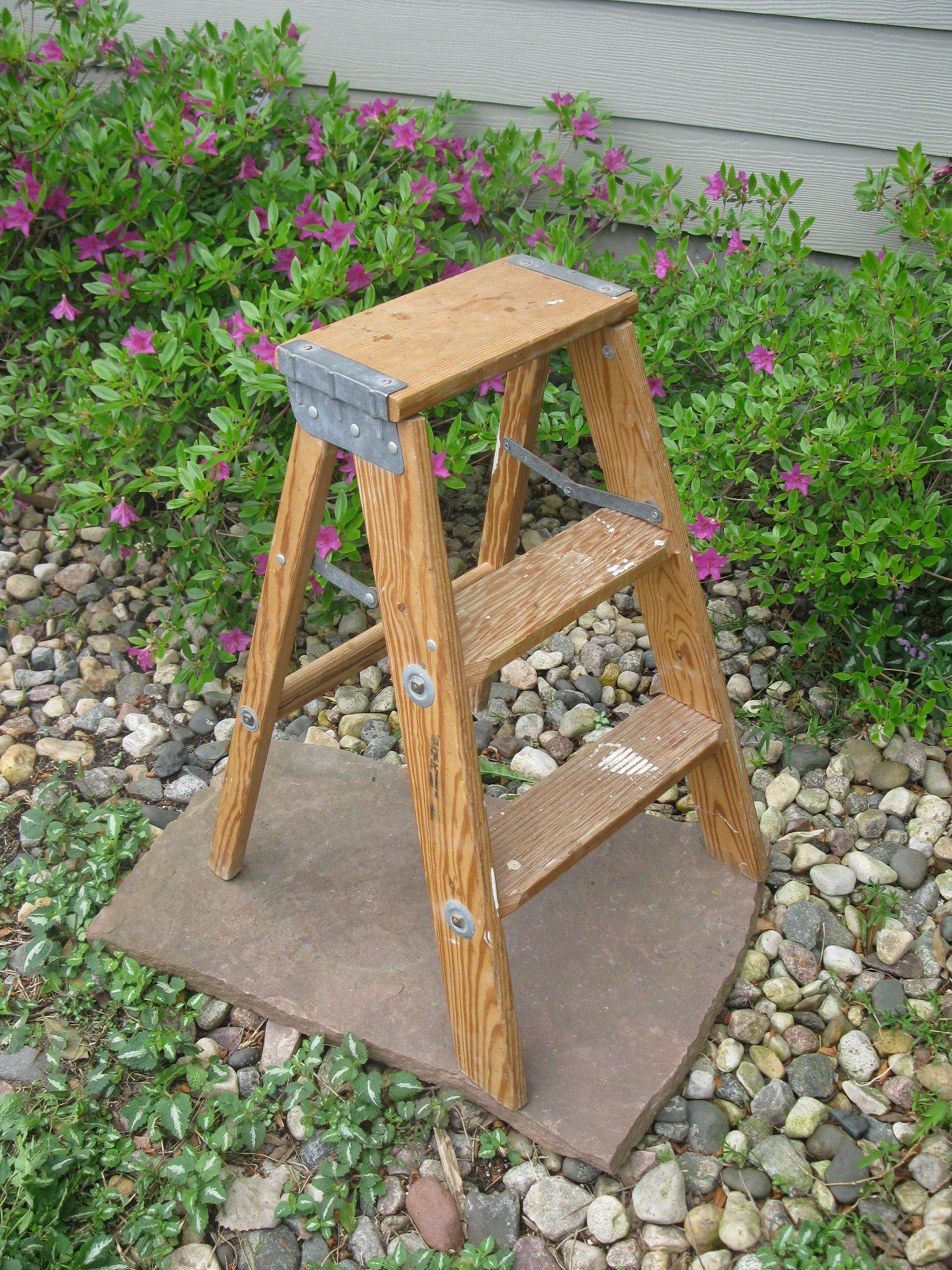 Vintage Wooden Step Ladder Step Stool Folding Ladder Plant Stand Shabby Primitive Distressed Wood Paint Lad How To Distress Wood Step Stool Wooden Steps
