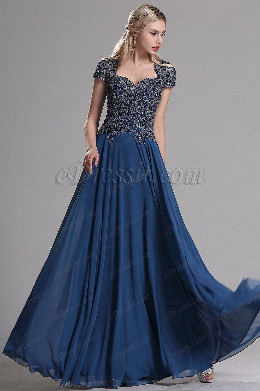 Navy blue cap sleeves beaded prom evening dress