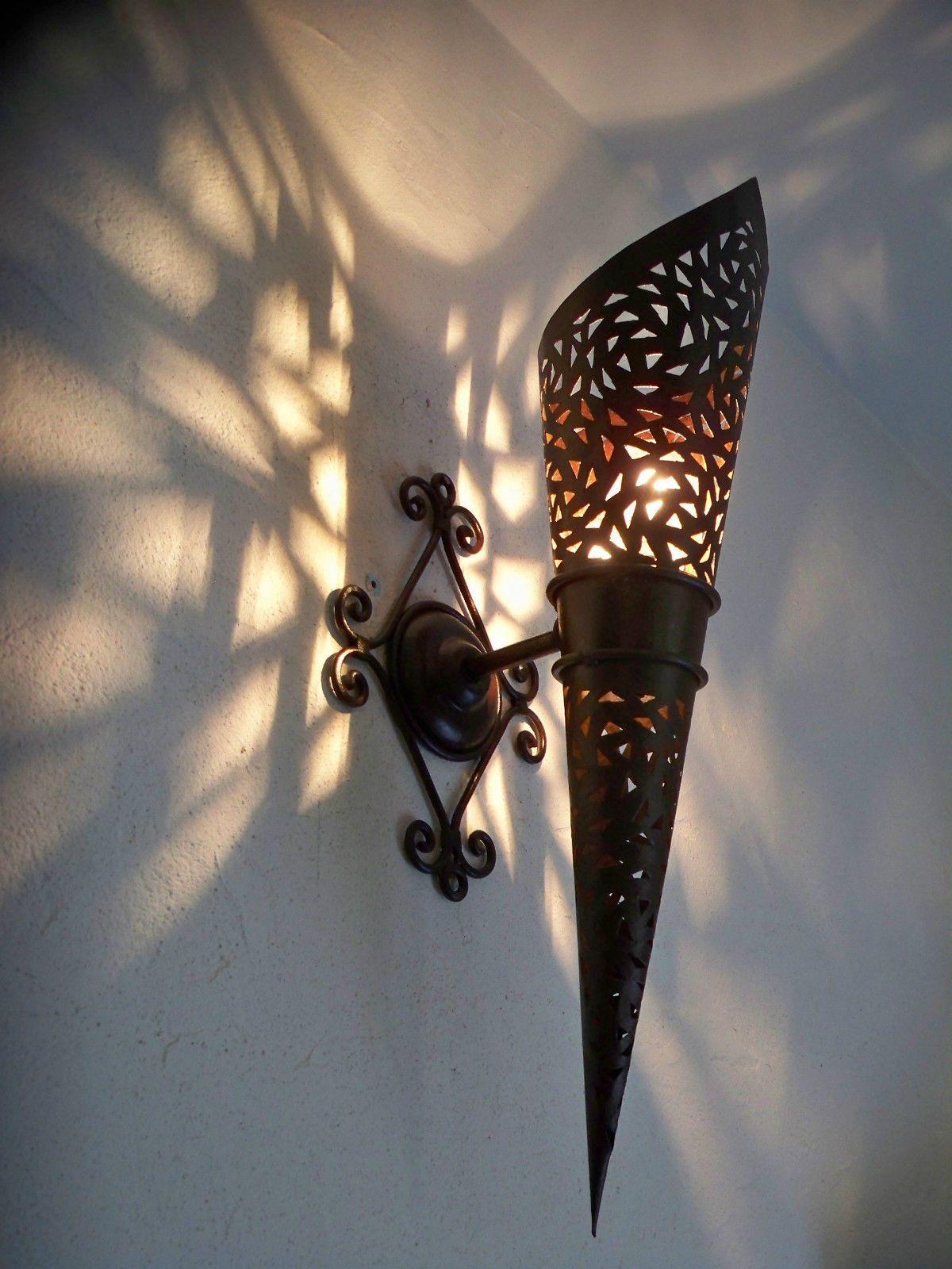 58 Cm Wall Torch Moroccan Wrought Iron Lamp Lantern Eastern Luster Fakkels Lampen Wanden