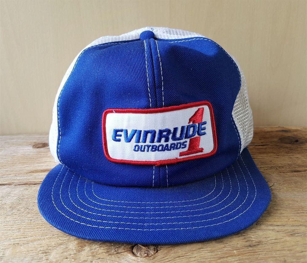 f774605bb5d08 Vintage 80s EVINRUDE OUTBOARDS 1 Mesh Trucker Hat Snapback Victory Cap  Canada  VictoryCaps  BaseballCap