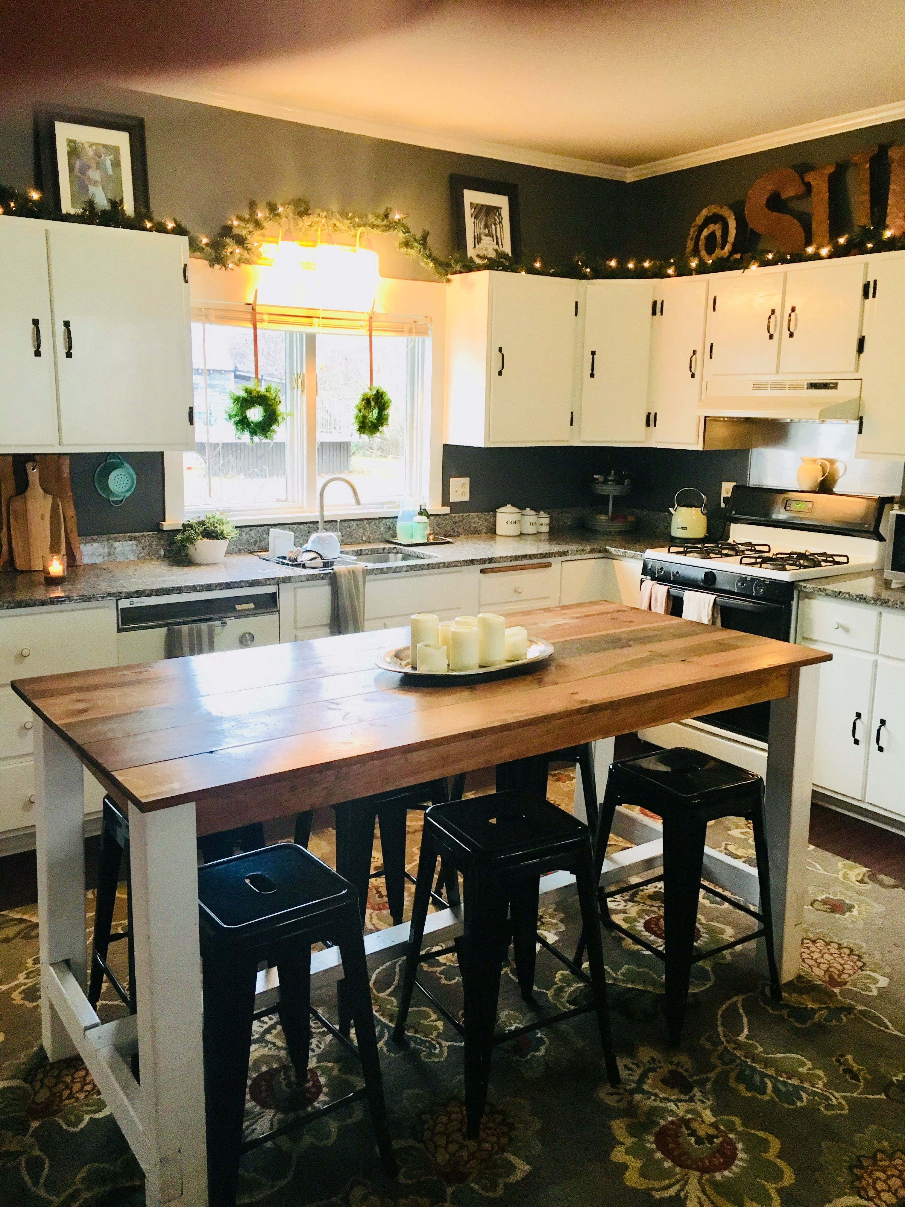 diy farmhouse table and kitchen island in one with metal stools only cost us 400 stools for on farmhouse kitchen table diy id=67029