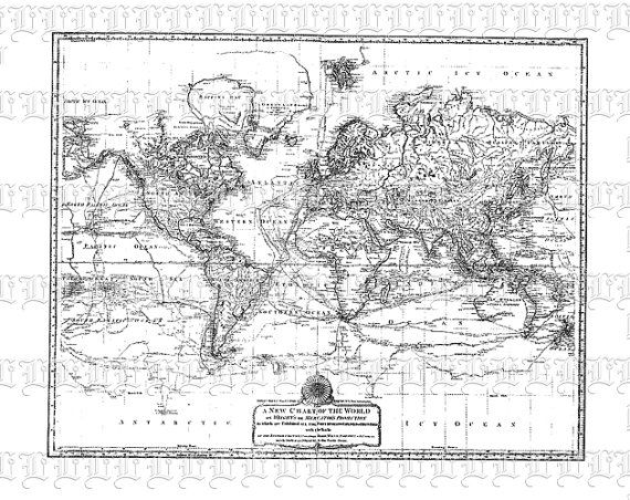 Antique World Map Mercator Projection by luminariumgraphics, $2.20