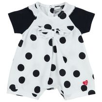 White with black polka dots Rompers