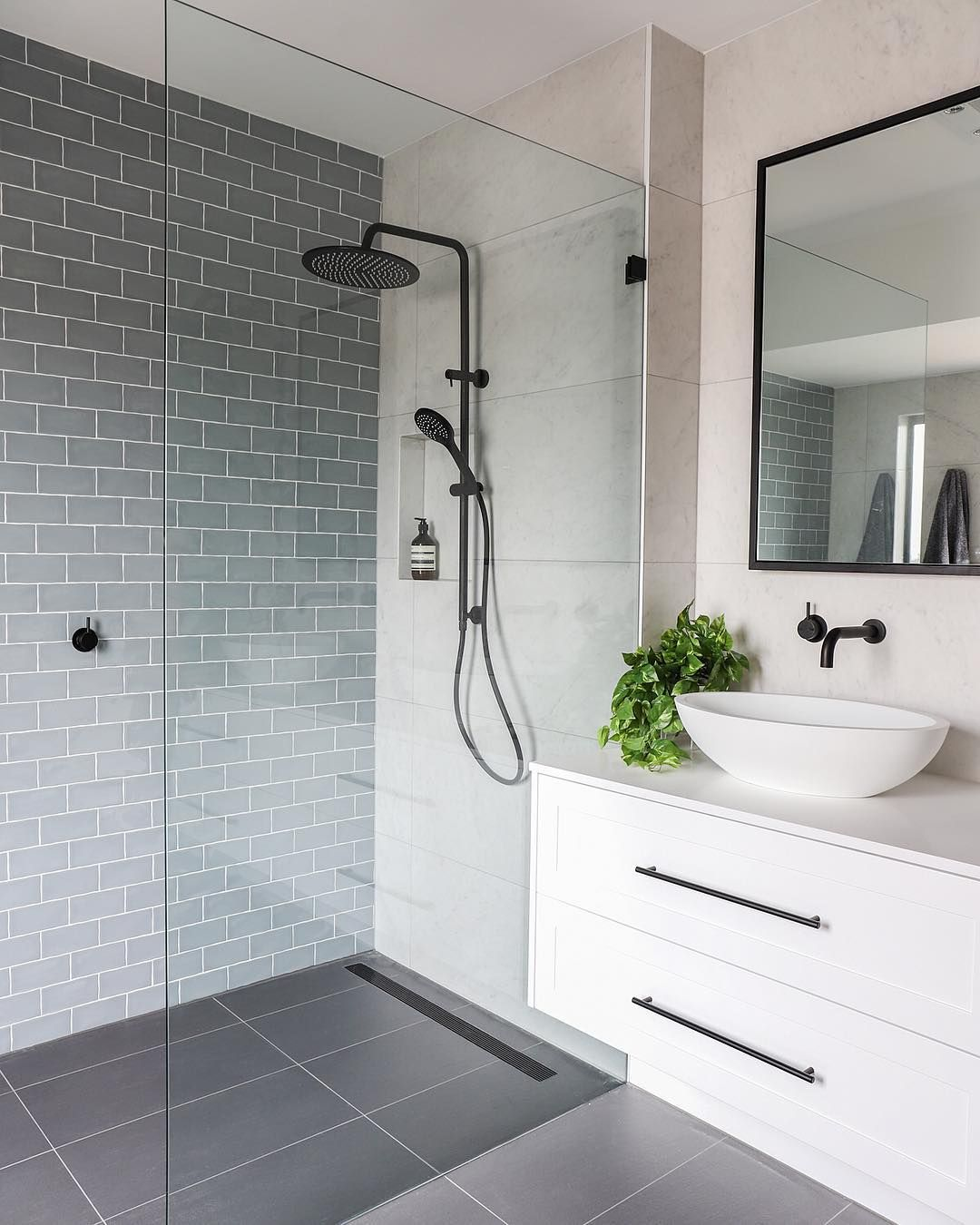 Bathrooms: Showerhead; Shower Niche Shape; Black Hinged Glass; Black