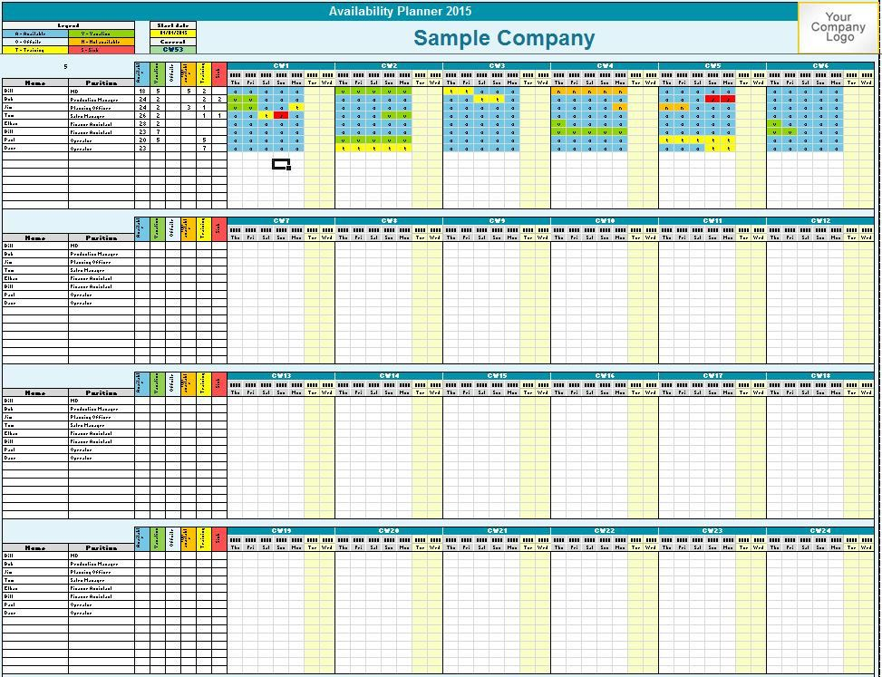 Family  Employee Availability Planner  Microsoft Excel Custom