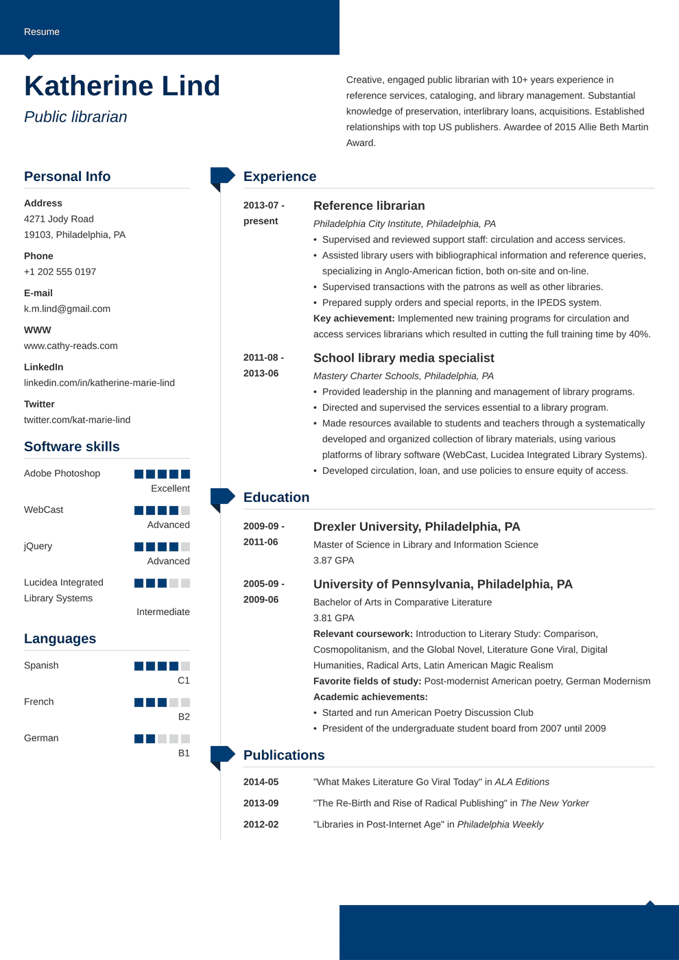 librarian resume template modern  job resume examples