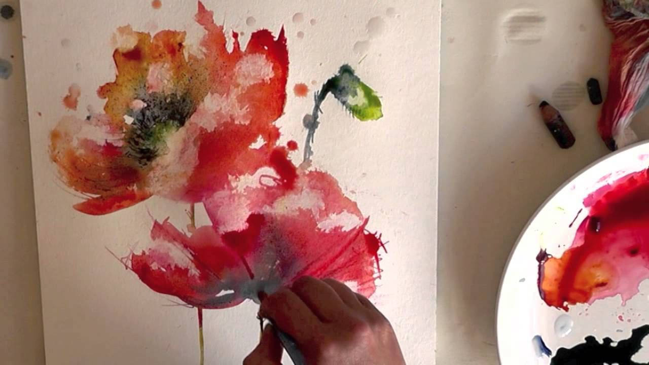 Fun loose way to paint poppies in watercolor. She also ...