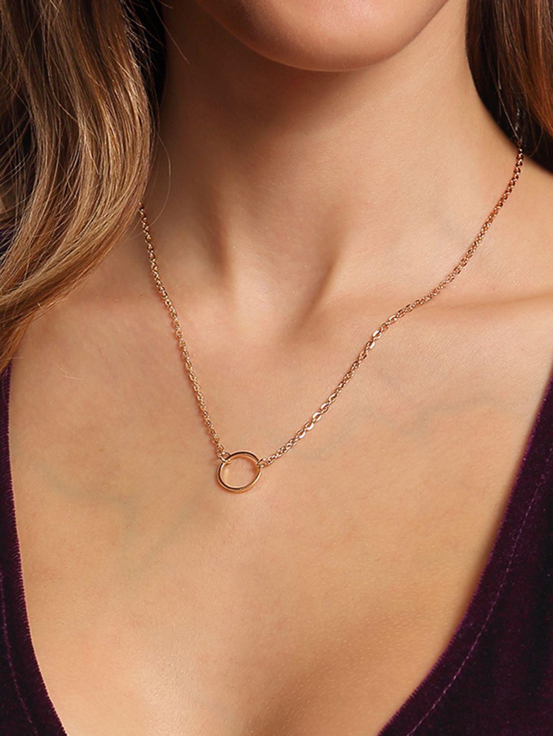 651861a5a8a6 Collar anillo cadena enlace-(Sheinside)