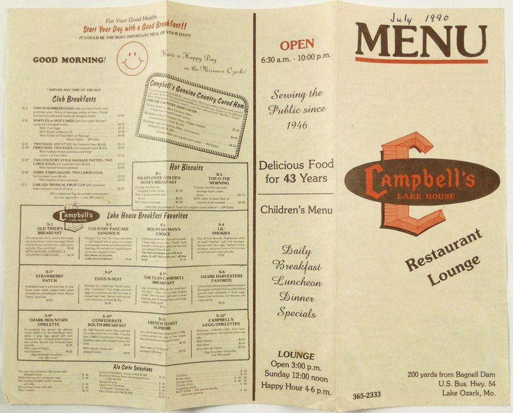 1990 Original Vintage Menu Campbells Lake House Restaurant Lounge