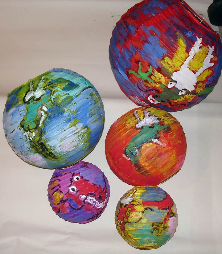 Painted Dragon Lanterns Paint your own paper