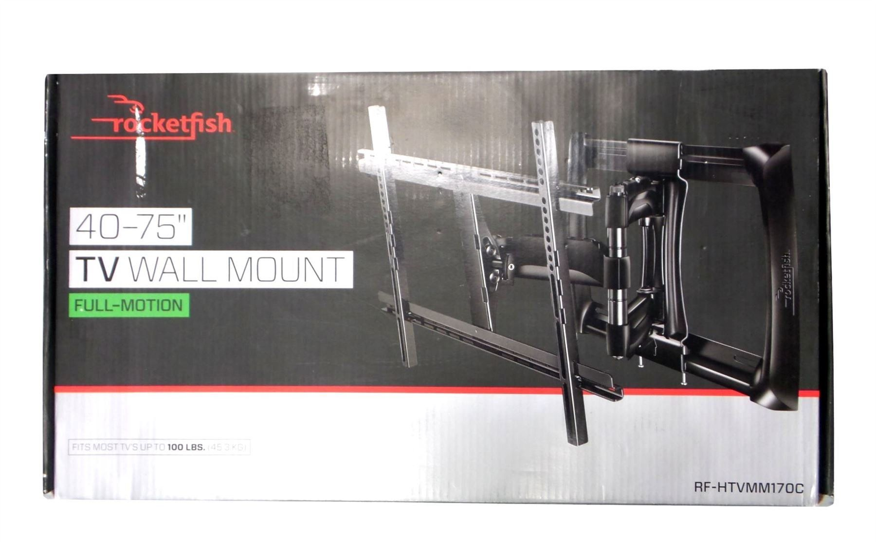 "NEW Rocketfish Full-Motion TV Wall Mount for Most 40/""-75/"" TVs Black RF-HTVMM170C"