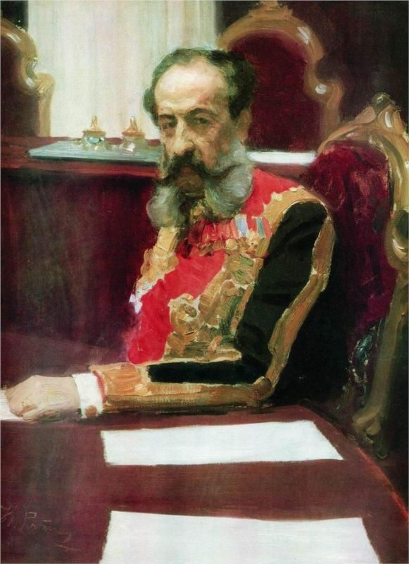 Portrait of member of State Council and Grand Chamberlain, Prince Mikhail Sergeyevich Volkonsky, 1903 Ilya Repin