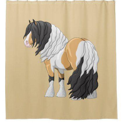 #Beautiful Buckskin Pinto Gypsy Vanner Draft Horse Shower Curtain - #Bathroom #Accessories #home #living