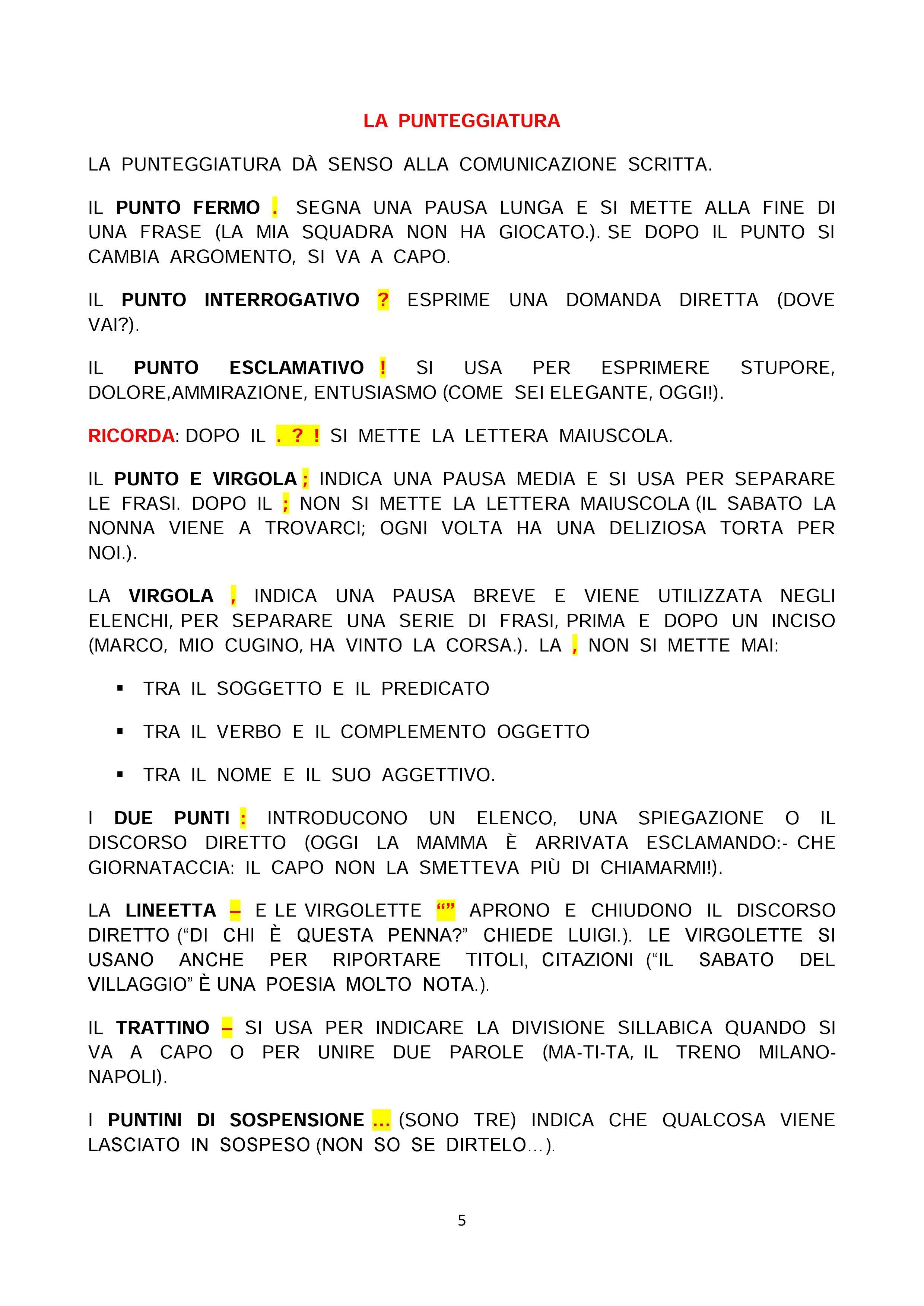 Il Ricorda Regole Di Italiano Classe 5 Punteggiatura Lezioni Di