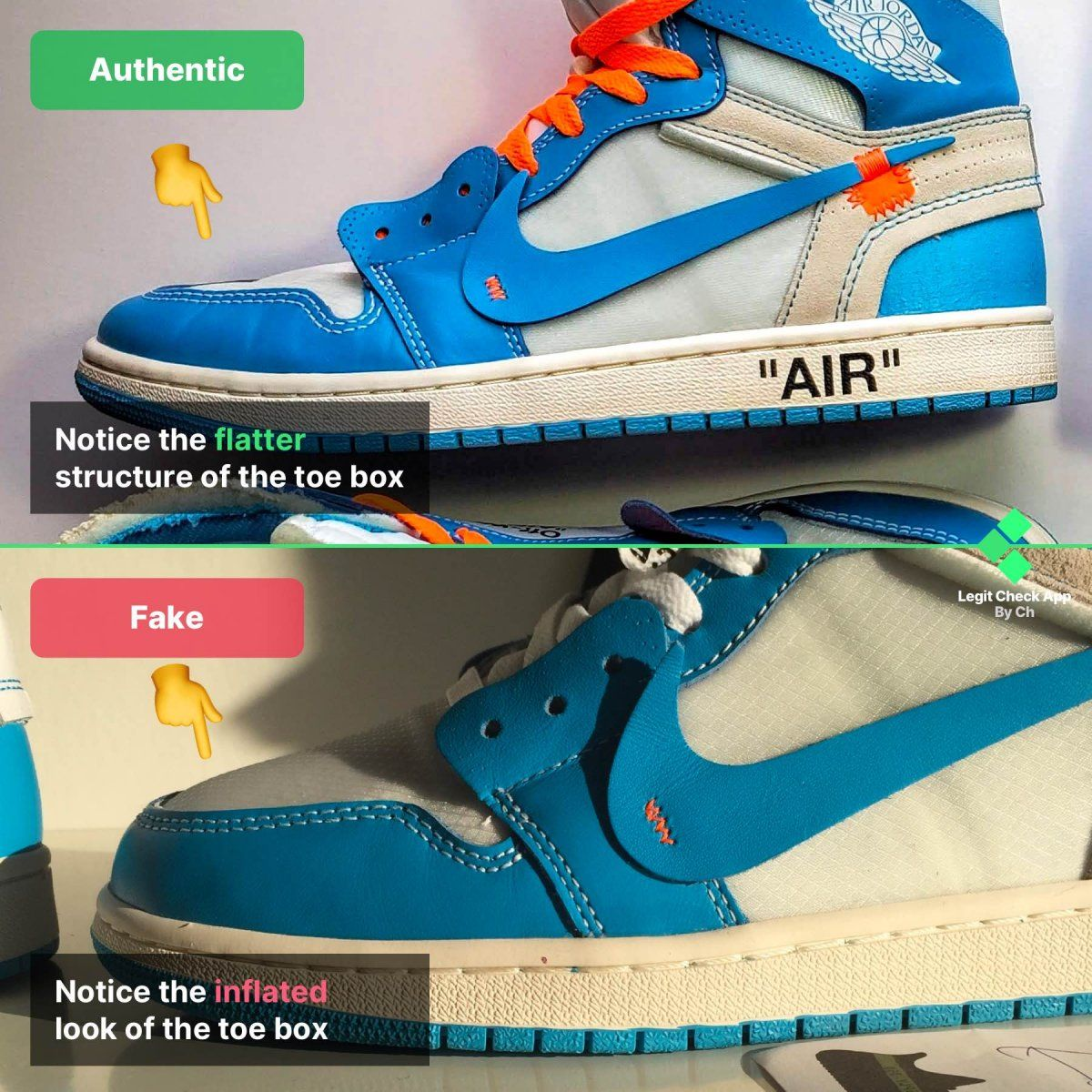 Step 1 Check the shape of the OW Air Jordan 1 UNC