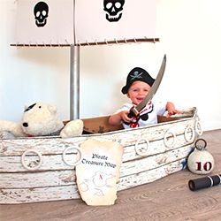 make this cardboard pirate ship, telescope and fishing line for your little ones using just a few household objects and boxes