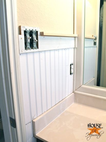 Kids 39 bathroom makeover phase 1 hanging beadboard and - Beadboard small bathroom pictures ...