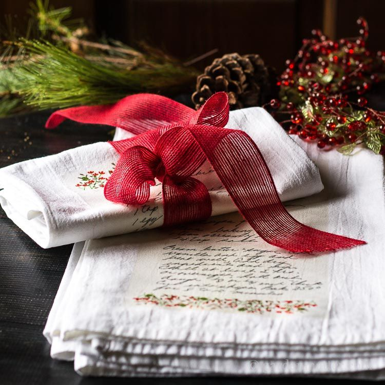 Handwritten Family Recipe Tea Towel Gift Gift, Craft and Wreaths