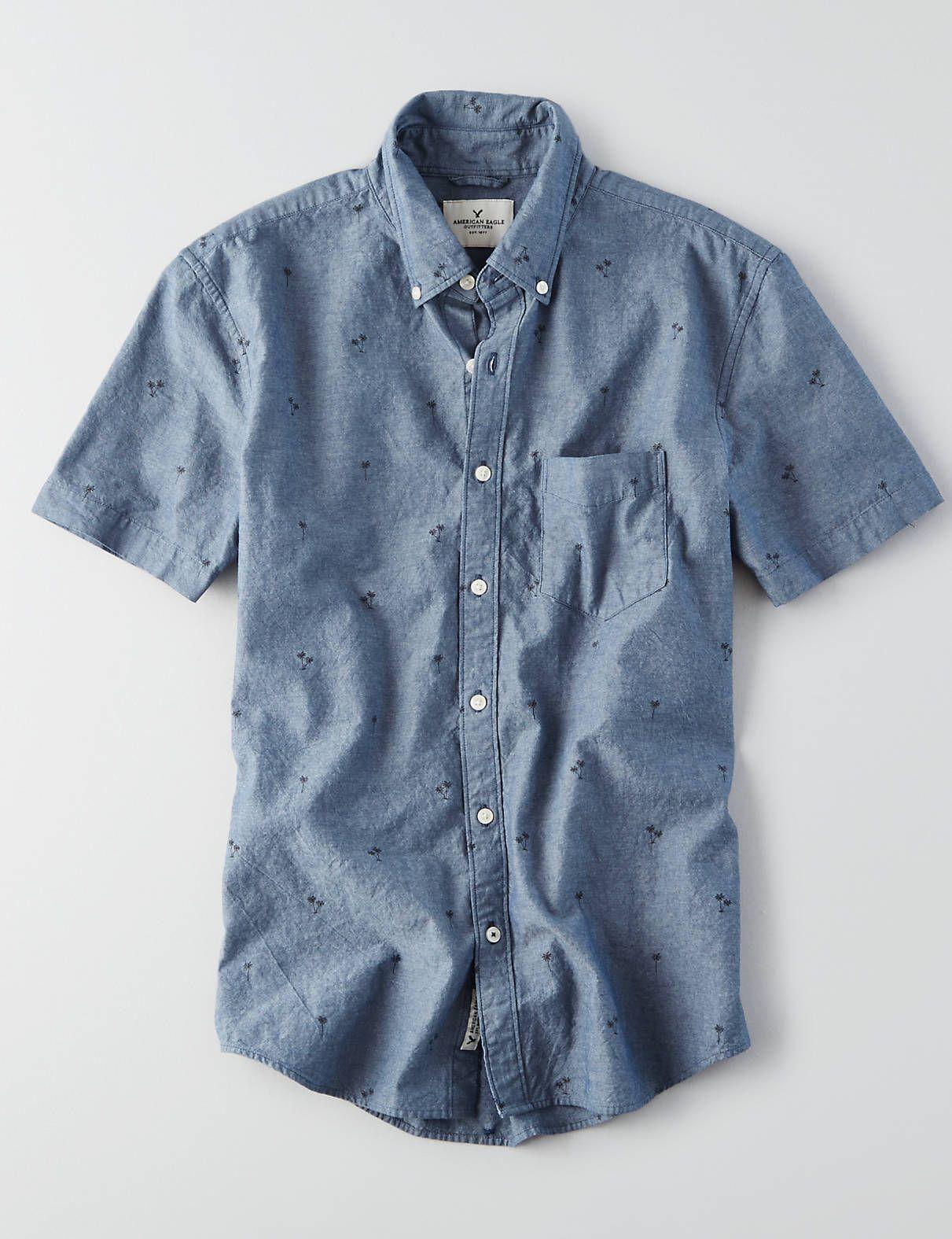 AEO Pattern Short Sleeve Shirt, Washed Blue | American Eagle ...