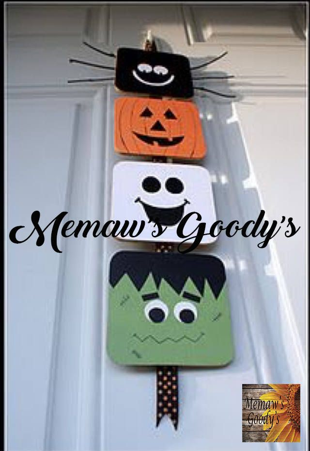 Halloween Spooky Stack Halloween ribbon, Baltic birch and Happy fall - how to make homemade halloween decorations for kids