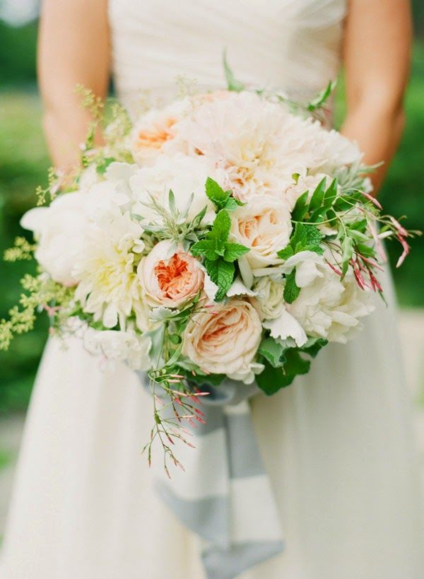 romantic bouquet by Hana Floral Designs featuring garden roses, dahlias, peonies and pink jasmine