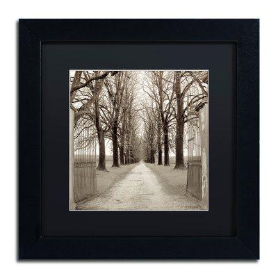 "Trademark Art 'Veneto Giardini I' Framed Photographic Print Size: 11"" H x 11"" W x 0.5"" D, Mat Color: Black"