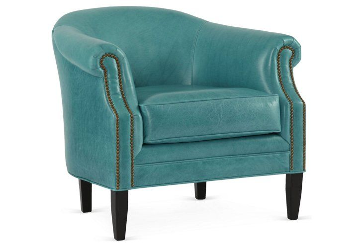 Merveilleux Hyde Leather Chair, Turquoise
