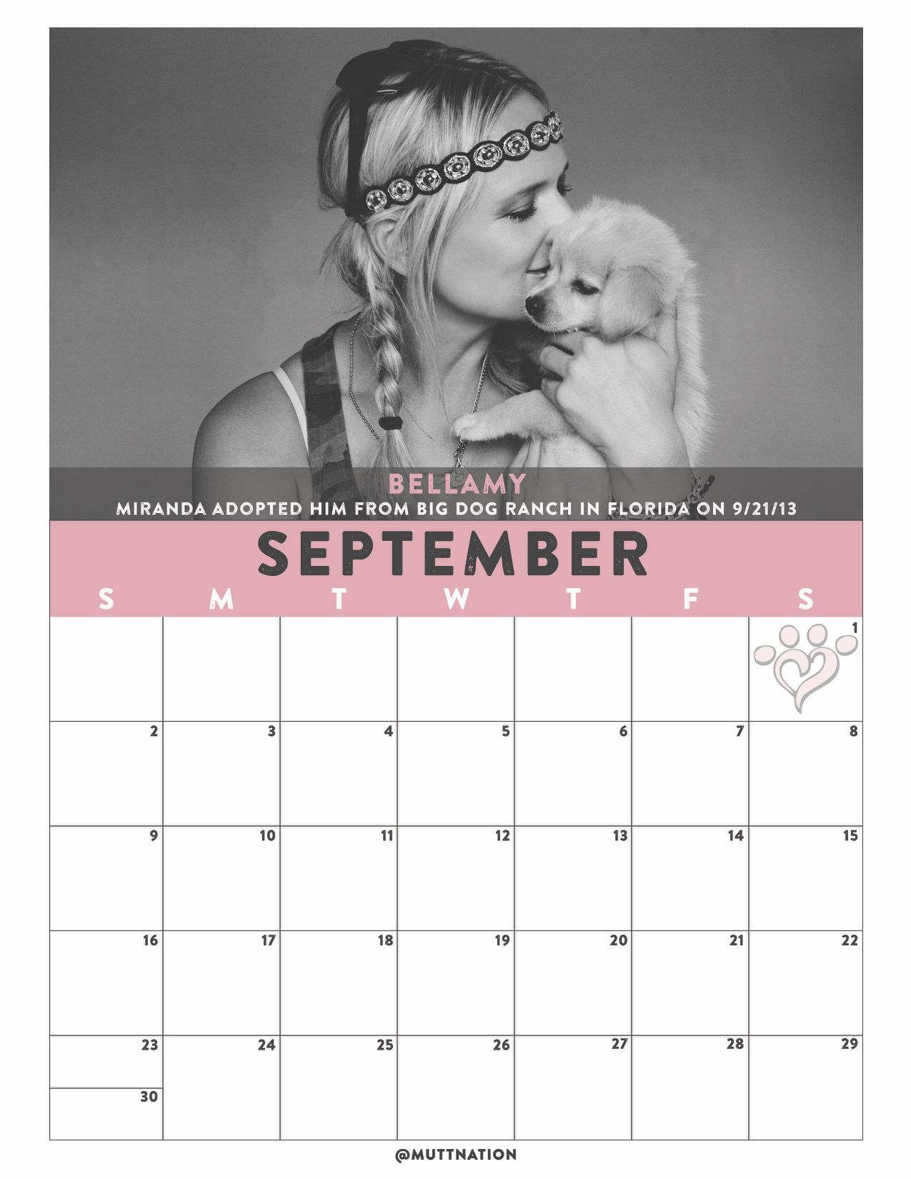 MuttNation DIY Blank 2018 Calendar Printables Month of