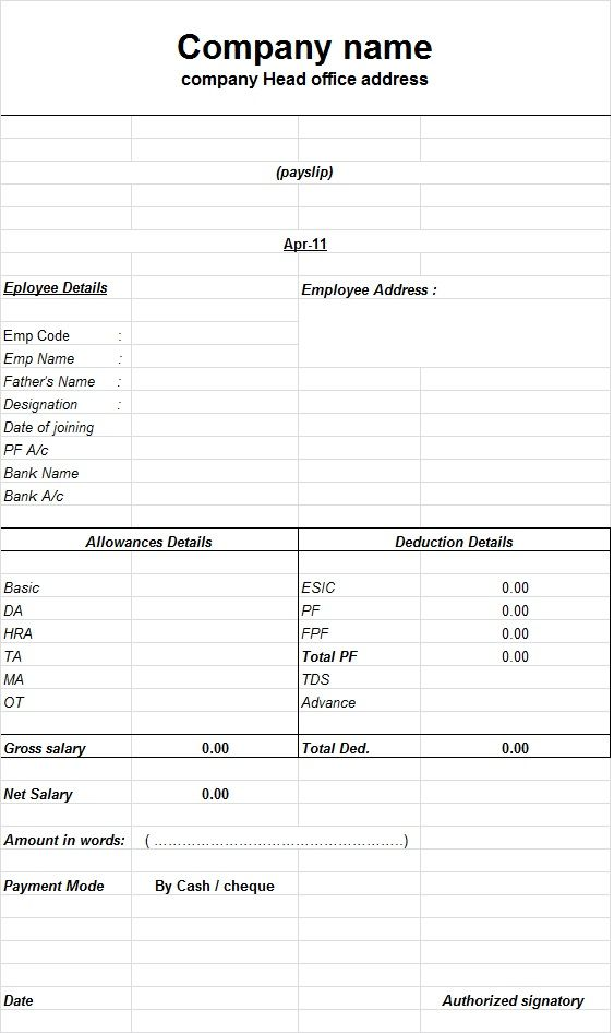 How to create a payslip templates using Microsoft Excel | Excel ...