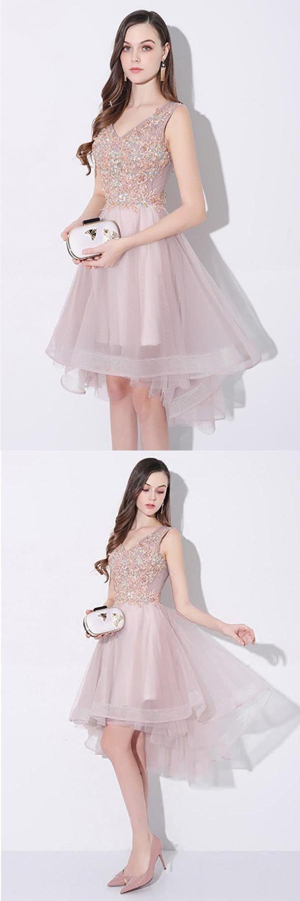 Tulle high low vneck homecoming prom dress sleeveless pd prom