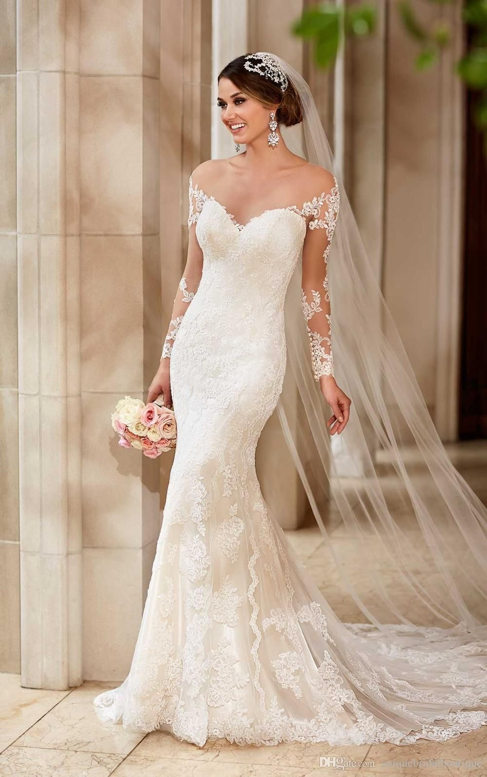 390e283c8b85f 2016 In Stock Cheap Wedding Dresses Under 100 With Illusion Long Sleeves  And Off Shoulder Applique