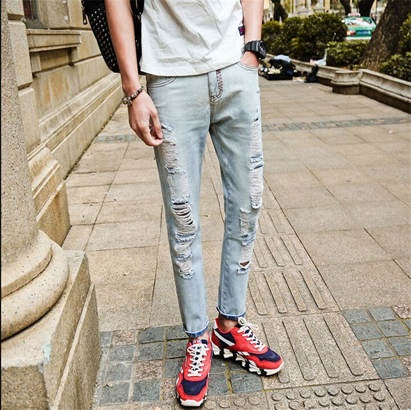 (Buy here: http://appdeal.ru/jgk ) 2016 Summer Beggar Hole Jeans Male Korean Slim Pants Feet Tide of Non-mainstream Youth Plus Size 28-36 for just US $39.99