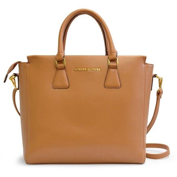 Adrienne Vittadini Smooth Satchel ($80) ❤ liked on Polyvore featuring bags, handbags, handbag satchel, brown purse, satchel purse, brown handbags and satchel style handbags
