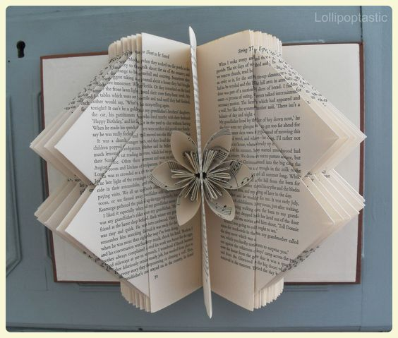 Folding diy bookpage and more beautiful flower shops for Paper folding art projects