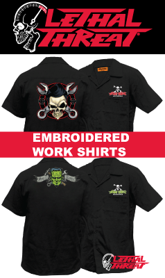 Embroidered work shirts and patches lethal threat biker for Embroidered work shirts online