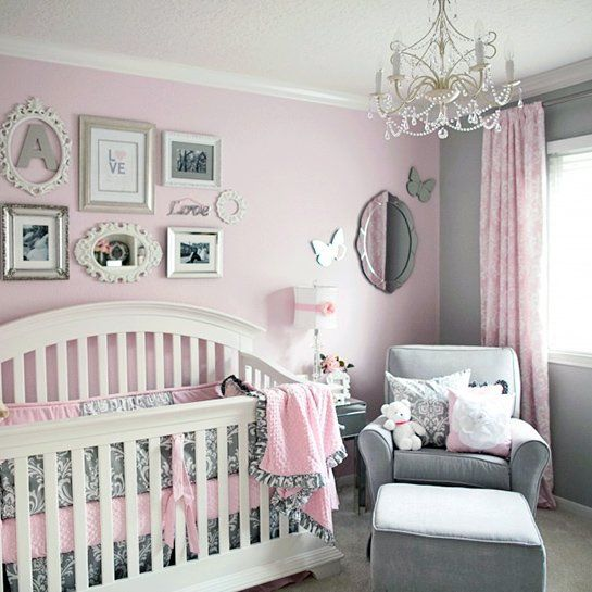 Soft And Elegant Gray And Pink Nursery: 50 Perfectly Pink Nurseries: Elegant Pink And Gray With A