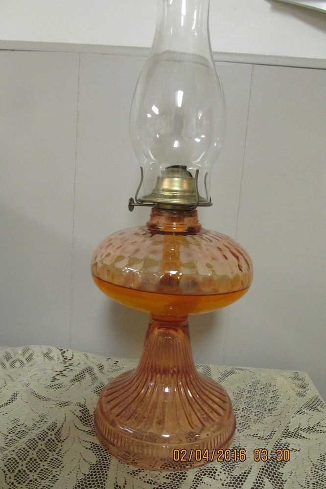 Antique Depression Era Pink Optic Glass Oil kerosene Lamp ...