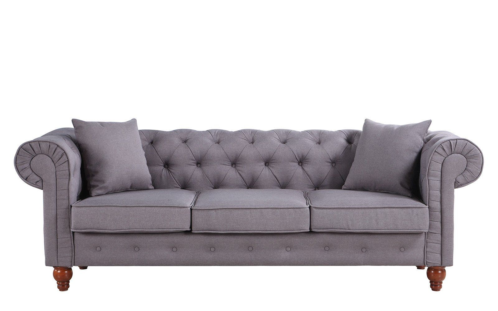 Stratford Classic Grey Fabric Chesterfield Sofa | Living Room ...