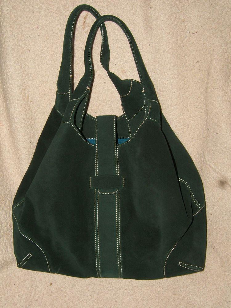 "Ann Taylor Dark Green Suede Leather Large Satchel Handbag  - 15"" x 11"" #AnnTaylor #Satchel"