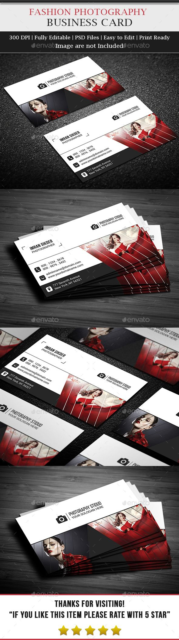 Fashion Photography Business Card Template PSD #design Download: http://graphicriver.net/item/fashion-photography-business-card/13378104?ref=ksioks