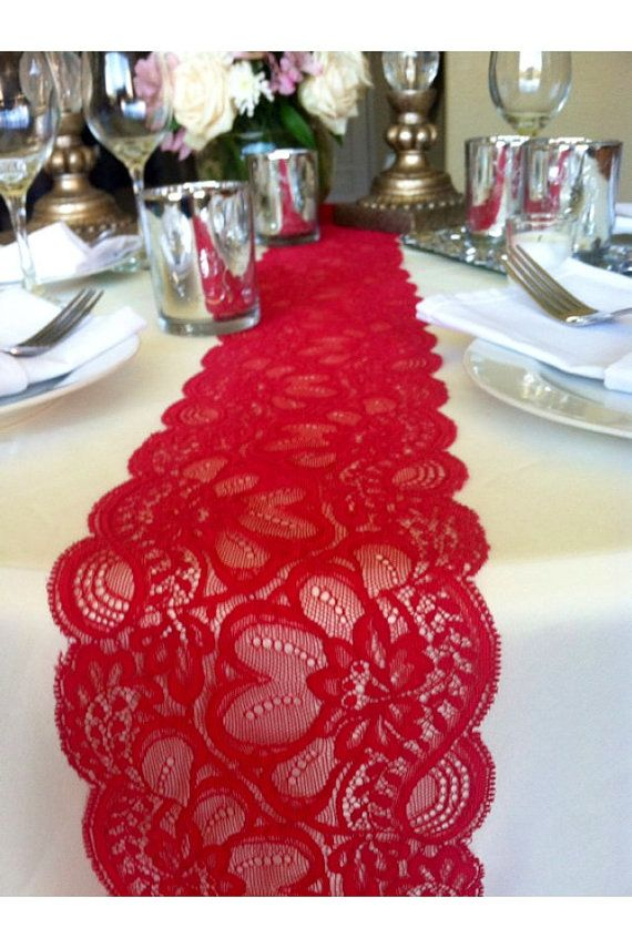 Exceptional 6ft Lace Table Runner Dark Red, 5.5in Wide X 72in Long