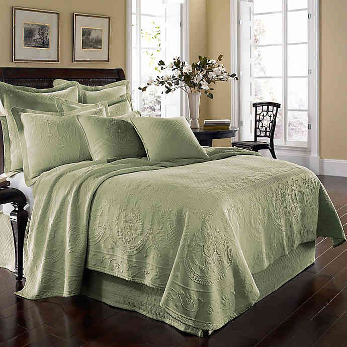 King Charles Matelassé Coverlet in Sage Bed spreads