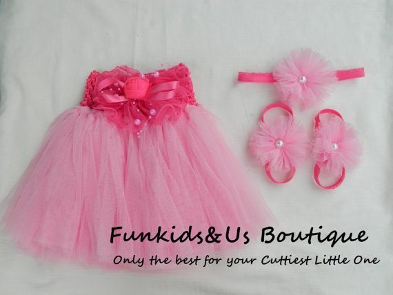 Light Pink Tutu with Baby barefoot sandals