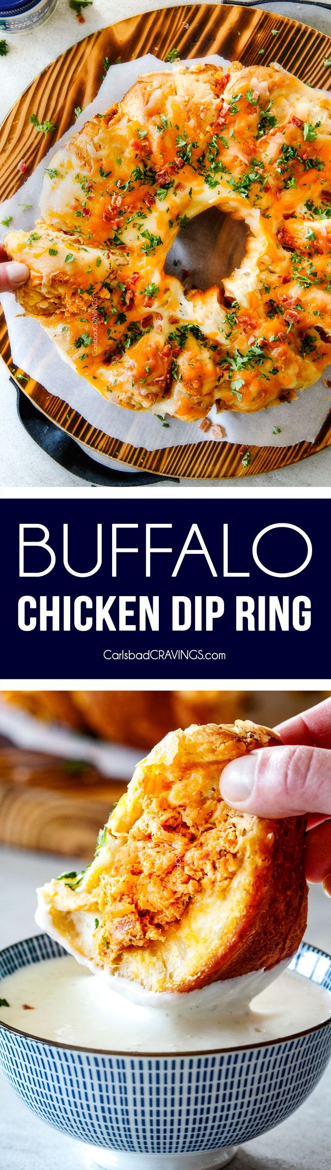 Mega flavorful Buffalo Chicken Dip Ring is your favorite decadent creamy, cheesy dip baked right into a buttery biscuit ring! Crazy delicious EASY crowd pleasing appetizer perfect for parties or game day!It may look super impressive but you won't believe how easy it is!