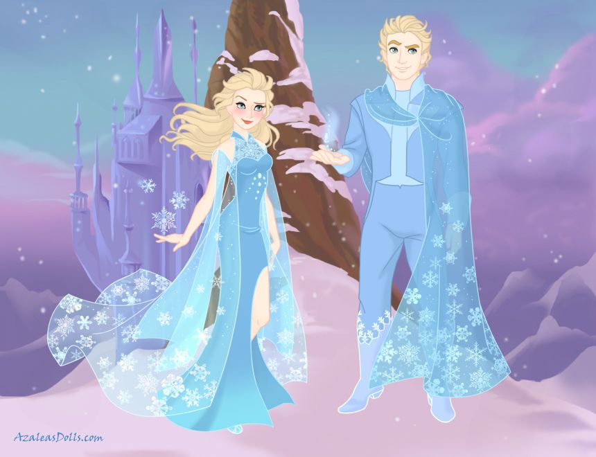 Elsa's and Jack Frost's daughter and son. Made it by Snow Queen scene maker on www.azaleasdolls.com