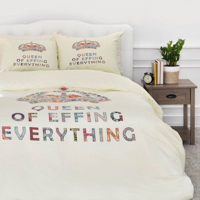 East Urban Home Bianca Her Daily Motivation Duvet Cover Set Size