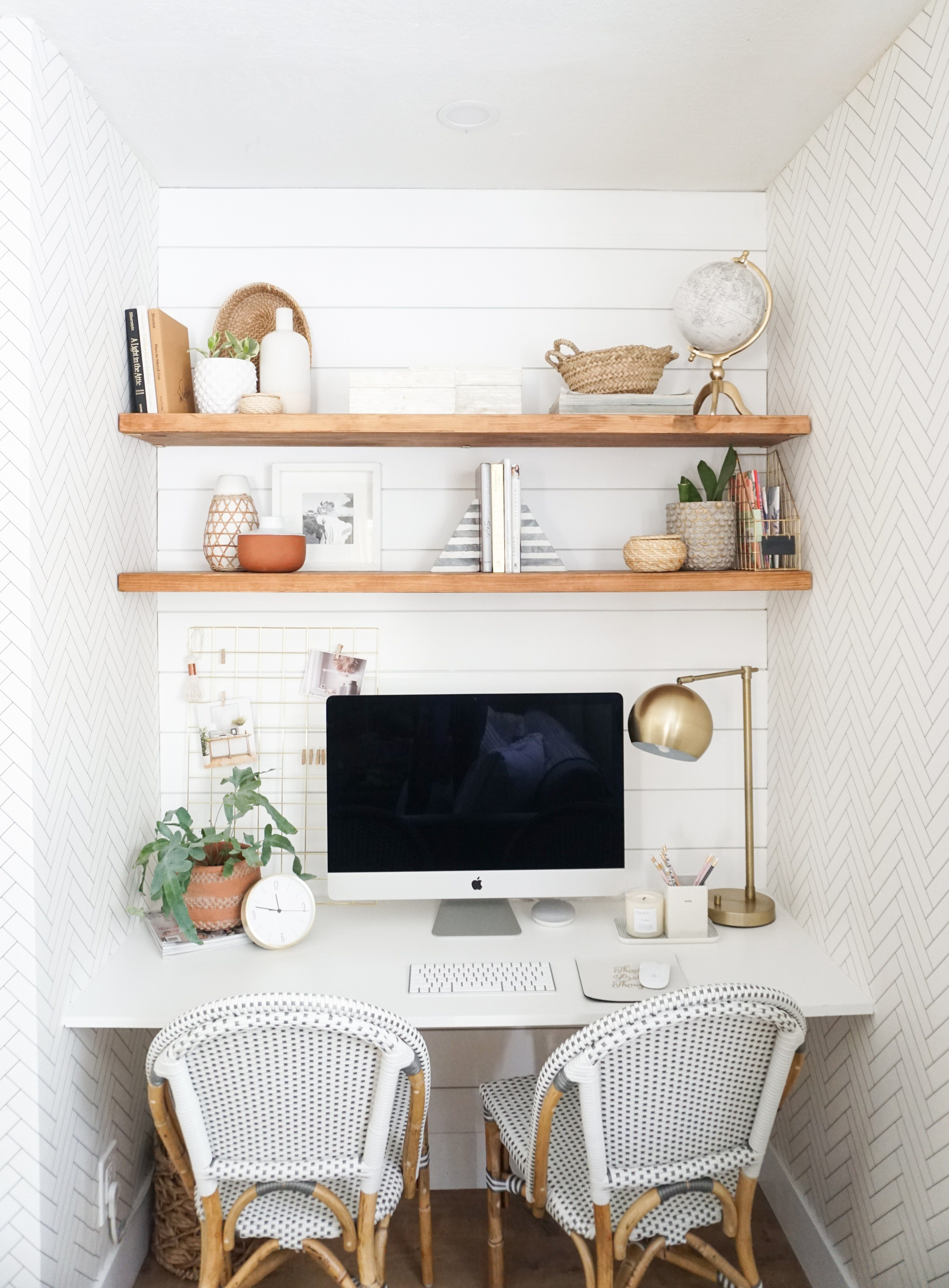 A Closet Turned Modern Chic Space Saving Office Nook Reveal Home Office Furniture Home Office Decor Home Office Design