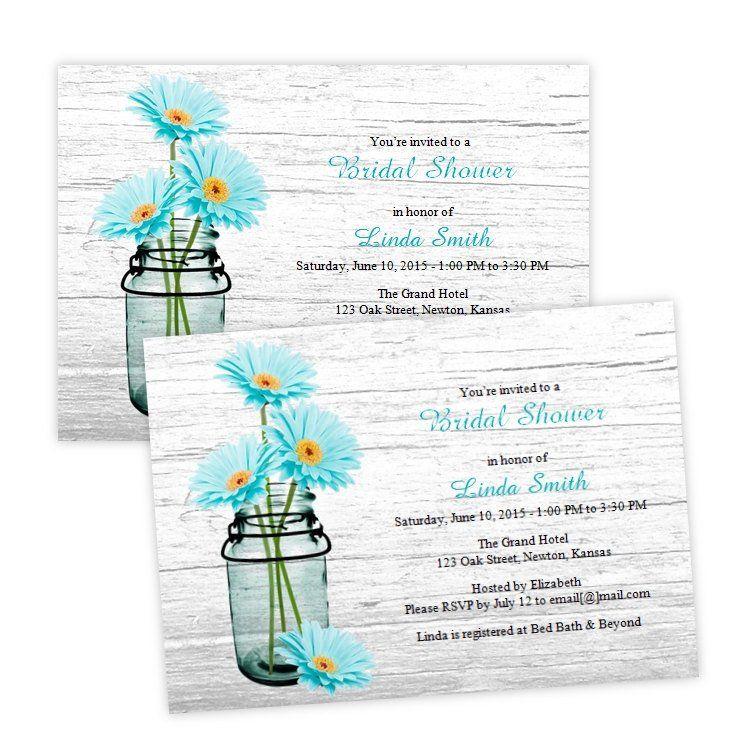 Aqua Daisies in a Mason Jar Bridal Shower Invitation Shower - free bridal shower invitation templates for word