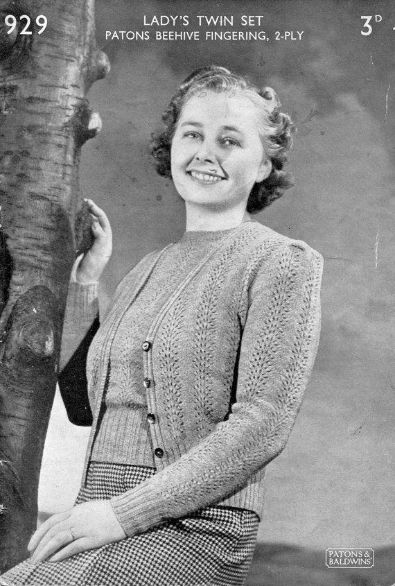 9ba176d9047d Pretty Lace 1940s Ladies Twin Set Jumper Cardigan 36
