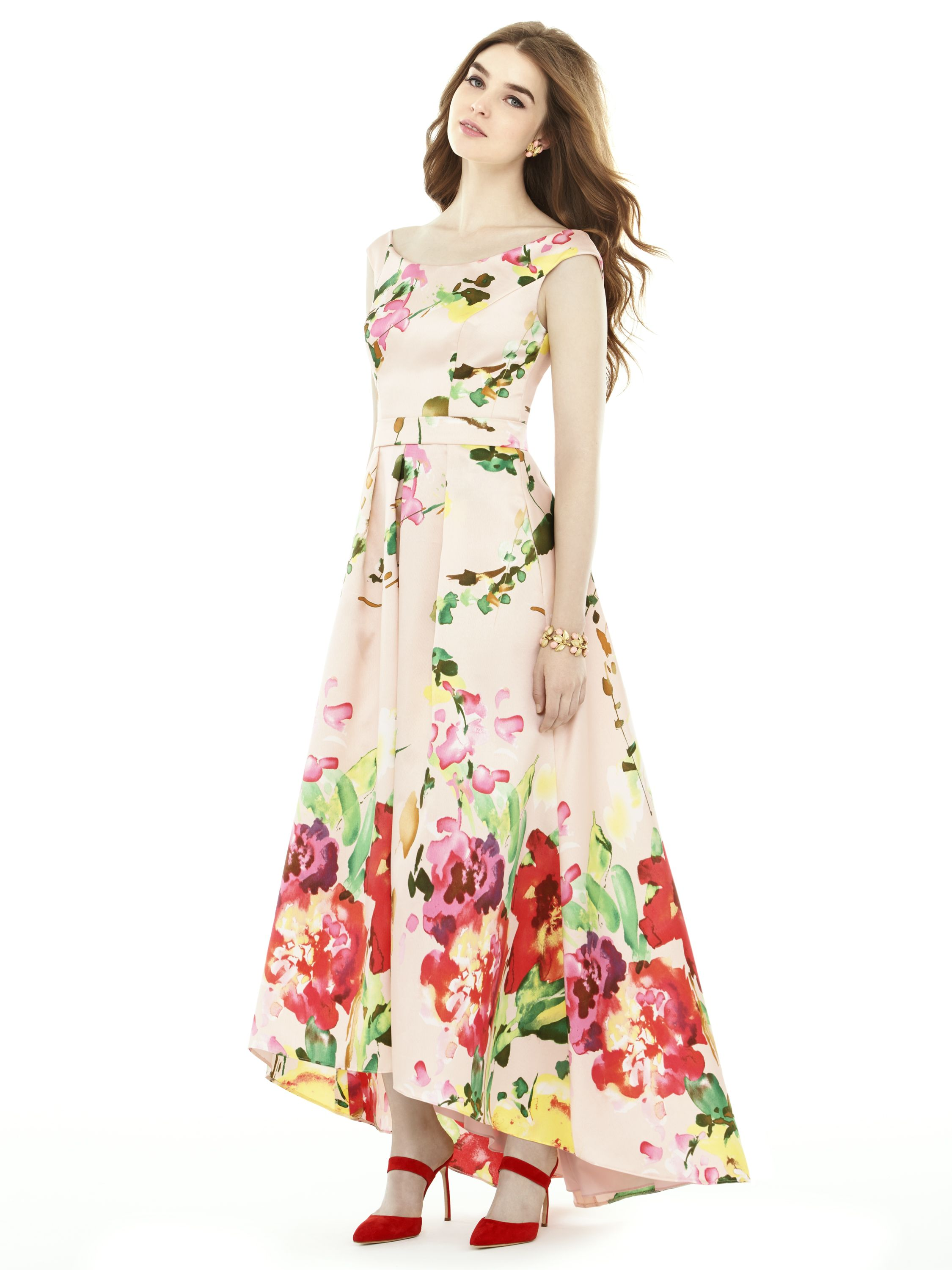 New alfredsung collection style d722fp dessygroup alfred featuring a floral bouquet print pattern this sateen twill alfred sung bridesmaid dress has an off the shoulder neckline and an inset waistband ombrellifo Gallery